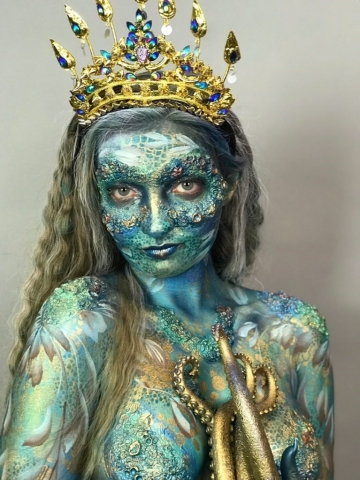 Ocean Goddess Body Art with Prosthetics